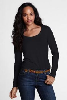 Women's Long Sleeve Fitted Lightweight Cotton Modal Scoop T-shirt from Lands' End
