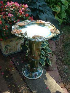 Ceramic bird bath by Lisa Lynn