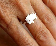 Hedgehog Woodland Ring Sterling Silver Hammered Band by meltemsem