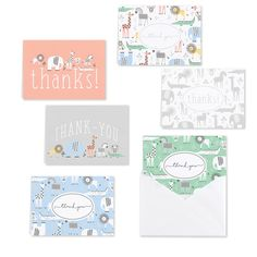 Baby Animals - Thank You Set Thank You Note Cards, Thank You Gifts, Christmas Stationery, All Holidays, Personalized Stationery, Foil Stamping, Printable Paper, Baby Clothes Shops, Paper Design