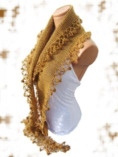 Caramel 2012 trends scarf hand knit women by WomanStyleStore, $31.00