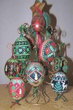 more christmas-y pysanky eggs by Jackie Stasevich
