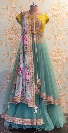 The Stylish And Elegant Lehenga Choli In Yellow,Teal,Green Colour Looks Stunning And Gorgeous With Trendy And Fashionable Fabric Looks Extremely Attractive And Can Add Charm To Any Occasion. Indian Wedding Outfits, Indian Outfits, Wedding Dresses, Indian Attire, Indian Wear, Pakistani Dresses, Indian Dresses, Saris, Anarkali