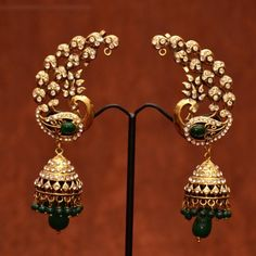 Shop Anvi\'s Peacock Design Green Beads Ear Hangings With Jhumkas Which Covers Complete Ear by Anvi Collections online. Largest collection of Latest Earrings online. Emerald Jewelry, Diamond Jewelry, Gold Jewelry, Jewelery, Jewelry Accessories, Jewelry Chest, India Jewelry, Temple Jewellery, Indian Wedding Jewelry