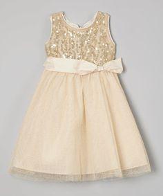 This Gold Sequin A-Line Dress - Toddler & Girls is perfect! #zulilyfinds
