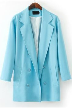 KCLOTH BLUE Notch Lapel Long Sleeve Pockets Blazer