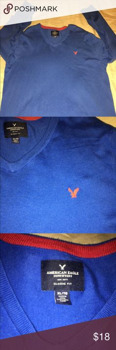 Men's XL American Eagle Outfitters V-Neck Sweater Close to new never worn blue and red American Eagle Outfitters V-Neck Sweater. Men's XL with Red Embroidered Eagle! American Eagle Outfitters Sweaters V-Neck