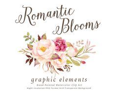 Watercolor floral Clip Art-Romantic Blooms Graphic Elements/Individual PNG files/Hand Painted/Wedding design/Rustic
