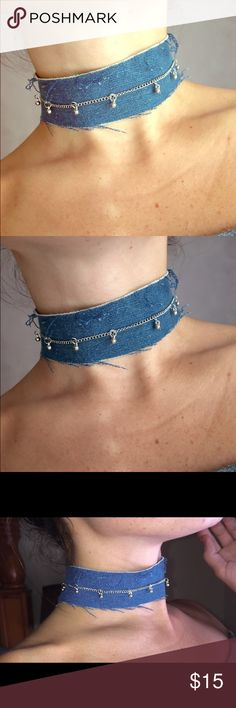 denim days choker hand made denim choker with a silver chain. adjustable neck. ask me about customs! (free people tagged for exposure) ...check out my Instagram anastvsia_t & choked__out for more:) Free People Jewelry Necklaces