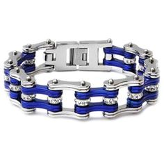 """3/4"""" Wide Two Tone Silver & Candy Blue with crystal centers motorcycle chain is crafted from quality 316L surgical grade stainless steel."""
