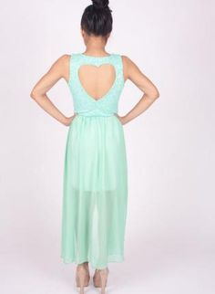 Green Longer Lengths Dress - Mint Hi-Low Chiffon Dress with Heart Cutout