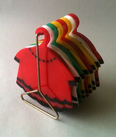vintage coasters shaped like dresses