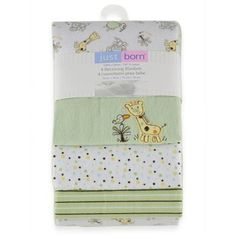 Triboro Just Born Flannel Receiving Blankets - Neutral with Jungle Fun