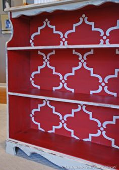 Susan from Uniquely Yours or Mine stenciled this super cute bookshelf with Chalk Paint® decorative paint and our Large Moorish Trellis stencil!
