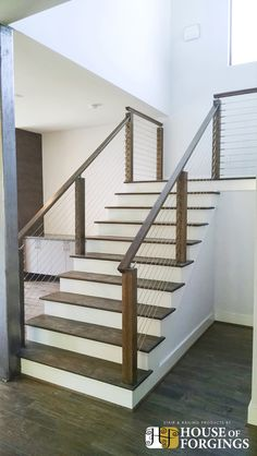 The Stylish Diy Stair Railing Kits Stair Rail Kits Indoor Home Design Ideas And Pictures With Regard To Diy Stair Railing Kits Diy Interior Cable Railing, Cable Stair Railing, Stair Railing Kits, Outdoor Stair Railing, Modern Stair Railing, Cable Railing Systems, Stair Railing Design, Metal Stairs, Staircase Railings