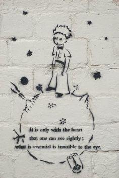 Literary Graffiti -- The Little Prince by Antoine de Saint-Exupery Graffiti Kunst, Street Art Graffiti, Graffiti Artists, Stencil Graffiti, Graffiti Tattoo, Petit Prince Quotes, Art Banksy, Bansky, Graffiti Quotes