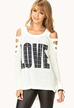 Love cutout sweater in black Very cute NWT Forever 21 sweater. Mine is black with red plaid letters. Fashion Wear, I Love Fashion, Unique Fashion, Diy Fashion, Tartan Shirt, Forever 21 Shirts, Grunge Girl, Cardigan Fashion, Latest Trends