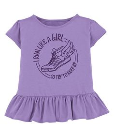 Look at this American Classics Lavender 'Run Like a Girl' Ruffle Tee - Toddler & Girls on #zulily today!