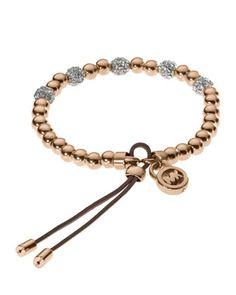 Michael Kors Bead Stretch Bracelet, Rose Golden.