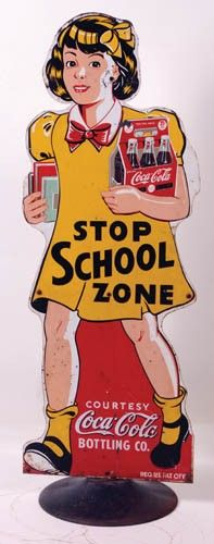 """1939 Coca-Cola """"school zone"""" crossing safety sign with stand."""
