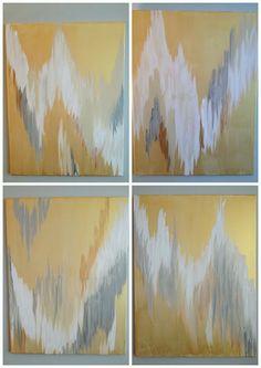 DIY Art: Metallic paint Ikat/Chevron-ish paintings to hang above the sofa. Diy Artwork, Diy Wall Art, Metal Wall Art, Canvas Wall Art, Artwork Ideas, Diy Arts And Crafts, Home Crafts, Diy Crafts, Diy Projects To Try