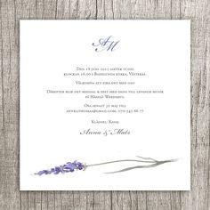 Anna Göran Design - Lavendel kvadrat Ett kort till bröllop eller fest  Invitation wedding Lavender