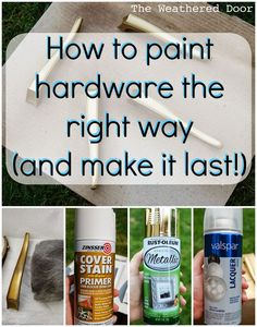 A while back, maybe 2 years ago, I painted a dresser and chose to keep the original hardware. It went from a gold to an oil rubbed bronze, but I didn't know what I was doing, and it was obvio… # Diy Upcycling mobel Paint Furniture, Furniture Projects, Furniture Makeover, Diy Projects, Furniture Refinishing, Furniture Repair, Furniture Design, Furniture Stores, Garden Furniture