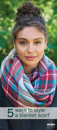 Bundle up! It's our head-turning blanket scarf that you can drape, wrap and belt all season long. Check out how to wear this fall essential at #MeijerStyle