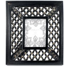 """Era Home Black Distressed Honeycomb 4"""""""" x 6"""""""" Wood Frame (125 CNY) ❤ liked on Polyvore featuring home, home decor, frames, black, black wood picture frames, distressed wooden frames, black wooden frames, black wood frames and wood picture frames"""