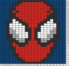 Crochet Blankets For Men Tricksy Knitter Charts: Spider Man - Visit to grab an amazing super hero shirt now on sale! Graph Crochet, C2c Crochet, Crochet Pillow, Tapestry Crochet, Crochet Blanket Patterns, Cross Stitch Patterns, Pixel Crochet Blanket, Crochet Blankets, Knitting Charts