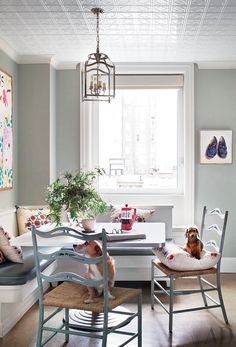 Ali Wentworth's two dachshunds rest in the airy breakfast area of her Manhattan home