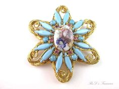 Vintage JULIANA D&E Floral TRANSFER Blue & Pink Rhinestone BROOCH Book Piece