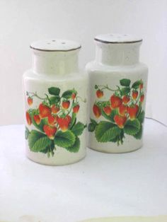 Vintage Strawberry Salt and Pepper Shakers BY #Enesco I love vintage berry and flower designs. Remind me of my grandparents :)