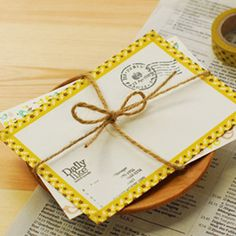 Yellow washi masking tapes for creative decorating. Korean packaging design.    http://www.morecozy.com