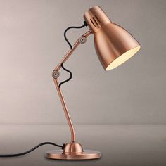 Buy Copper House by John Lewis Tony Task Lamp from our Desk & Table Lamps range at John Lewis & Partners. Free Delivery on orders over Copper House, Copper Lamps, Copper Bedside Lamp, Side Table Lamps, Bedroom Lamps, Bedroom Ideas, Bedroom Decor, Bedroom Designs, Large Lamps