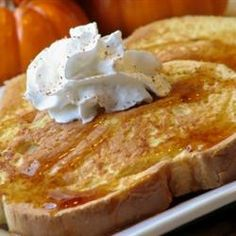 Pumpkin Pie French Toast... Yum... Make a double recipe next time!
