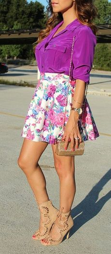 Fuchsia Blouse w/a Floral Skirt & Lace-Up Heels <3 L.O.V.E.