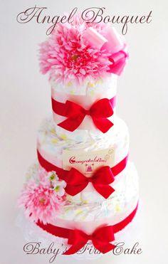 エンジェルブーケおむつケーキ・BENI☆ VIVID なカラーで、ボリュームのあるブーケ元気な赤ちゃんとママを祝して Congratulation! [ 大きさ (約)W30xD30xH50cm ] [ 内容 : 紙オムツ(S41個、M37個):~、アートフラワー、リボン、レース、カード ]