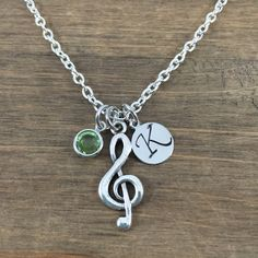Personalized Treble Clef Necklace - Hand stamped Monogram Music Lover Necklace - Initial, Birthstone Necklace - Music Teacher Gift by SunflowerShadows on Etsy