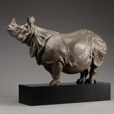 "Indian Rhino (18"") Nick Bibby Sculpture"