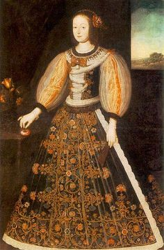 Elizabeth Bathory. an oil painting her father had commissioned for Ferenec Nadasdy, the man to whom she was betrothed at eleven years old. They married in her fifteenth year. His wedding gift was his home, Cachtice Castle in Hungry.