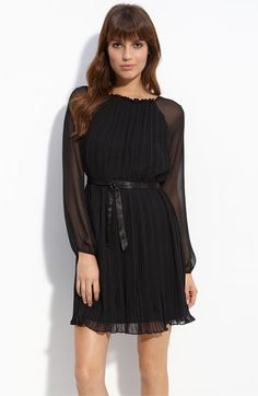 Aidan by Aidan Mattox - Pleated Chiffon Overlay Dress, Black