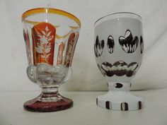 Sandwich Auction Room : 19th Century Bohemian Engraved Over Amber Glass Goblet : Online Auction Catalogue
