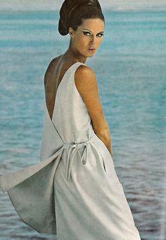 Birgitta af Klercker in a silk side-tied dress by B.H. Wragge, photo by Norman Parkinson for Vogue 1965