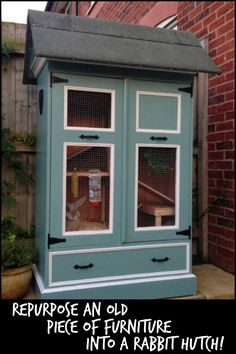 Keep your pet rabbits safe by making a rabbit hutch from a repurposed furniture . , Keep your pet rabbits safe by making a rabbit hutch from a repurposed furniture . Rabbit Cages Outdoor, Indoor Rabbit, Rabbit Hutch Plans, Rabbit Hutches, Rabbit Life, Pet Rabbit, Repurposed Furniture, Diy Furniture, Furniture Projects