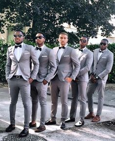 Gray Groomsmen Suits Two Button Slim Fit Mens Suit For Wedding Two Piece Wedding Tuxedos (Jacket Pants Bow) - Anzüge 2 - White Tuxedo Wedding, Groom Tuxedo Wedding, Wedding Men, Wedding Suits, Wedding Attire, Wedding Tuxedos, Dream Wedding, Gray Tuxedo, Grey Tux