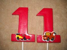 1 chocolate disney cars mcqueen mater 3x4 number lollipop lollipops | sapphirechocolates - Edibles on ArtFire