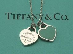 Pre-owned Tiffany 2 Heart Blue Enamel Pendant Necklace