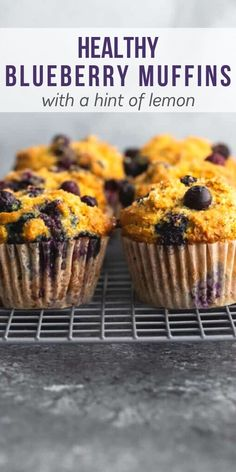 Healthy blueberry muffins are tender and soft, loaded with juicy blueberries, and have crunchy golden tops. With greek yogurt, whole wheat flour, no refined sugar and a TON of blueberries! #sweetpeasandsaffron #mealprep #snack #muffins #healthy #blueberries #norefinedsugar