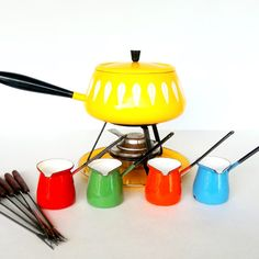 Cathrineholm Norway  Yellow Lotus Fondue Pot with by Vetera